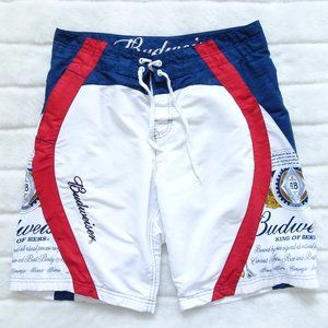 🌵 Budweiser  Swim Trunks Red, White & Blue 34